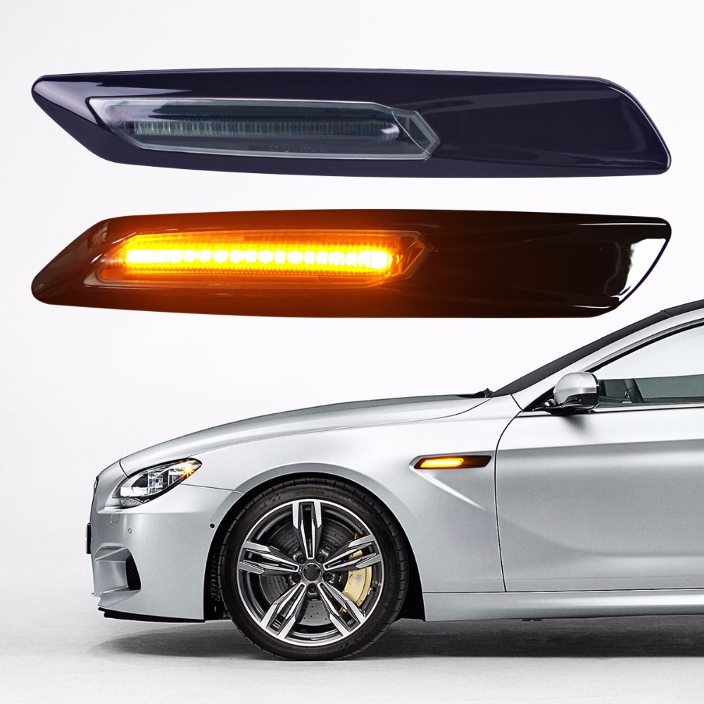 2XCar-styling Car LED Sticker Carbon Fiber Paper Fender Turn Signal Lamp For BMW E46 E82 E87 E88 E90 E91 E92 E60 E61 Accessories