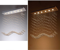 Simple Rectangular Wave Restaurant Chandelier Modern Bedroom LED Ceiling Lamp Curtain Partition Living Room Crystal Lamp