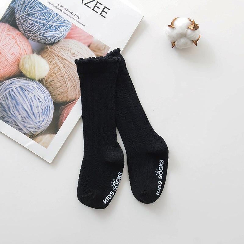 Новые детские носки гольфы с большим бантом для маленьких девочек, мягкие хлопковые кружевные детские носки kniekousen meisje, Прямая поставка#30 - Цвет: Bubble mouth black