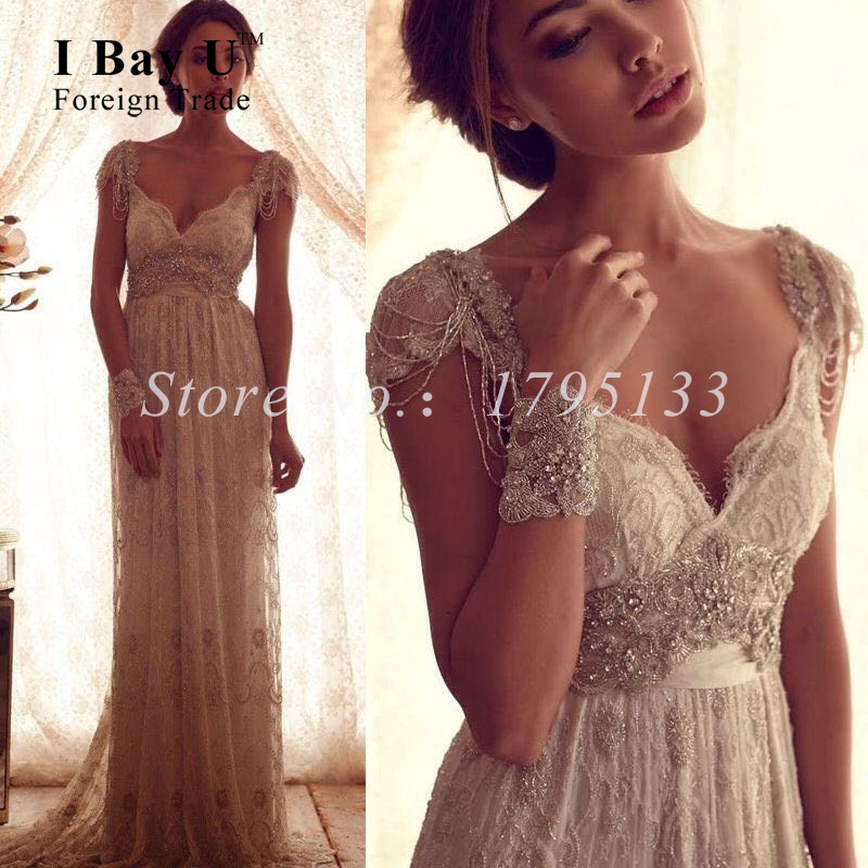 Beige lace formal dresses