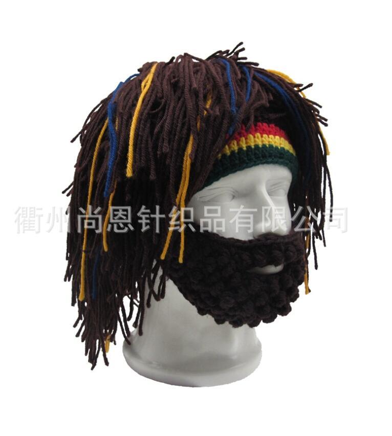 Wig Beard Hat Rasta Beanie Caveman Bandana Handmade Crocheted Gorro Winter Men's Halloween Costume Funny Birthday Gifts