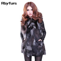 Genuine fox fur vest fox fur coat women long section of natural color silver fox coat