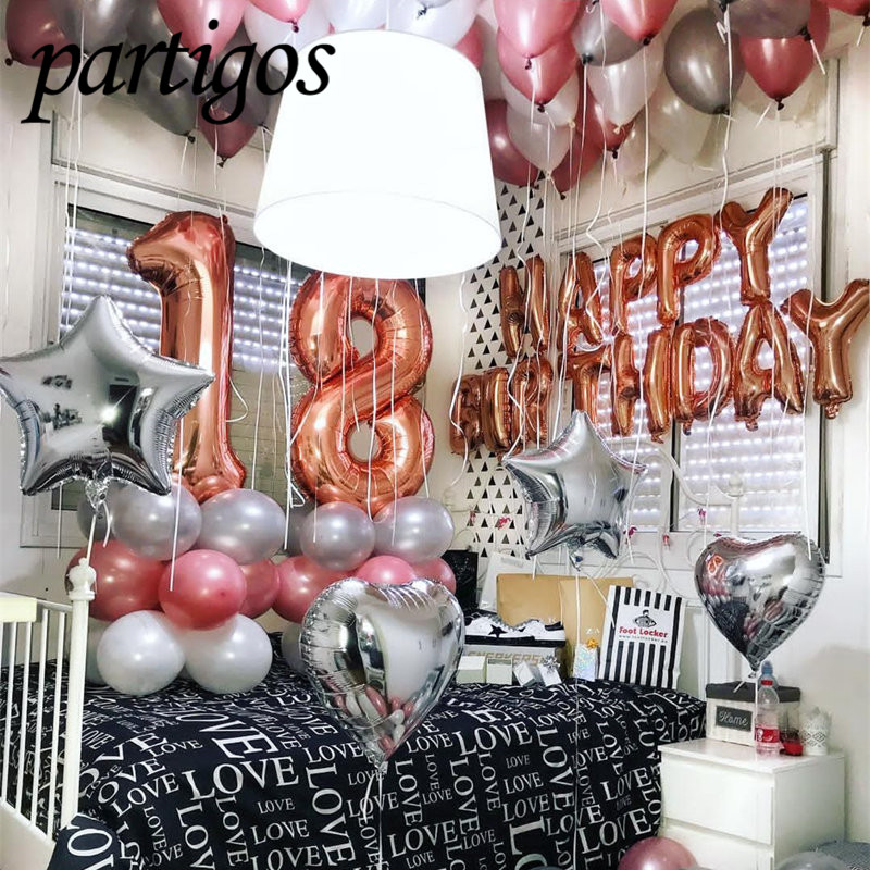 1 set Happy Birthday Letters Rose Gold Foil Balloons For Wedding Birthday Party Banners 5