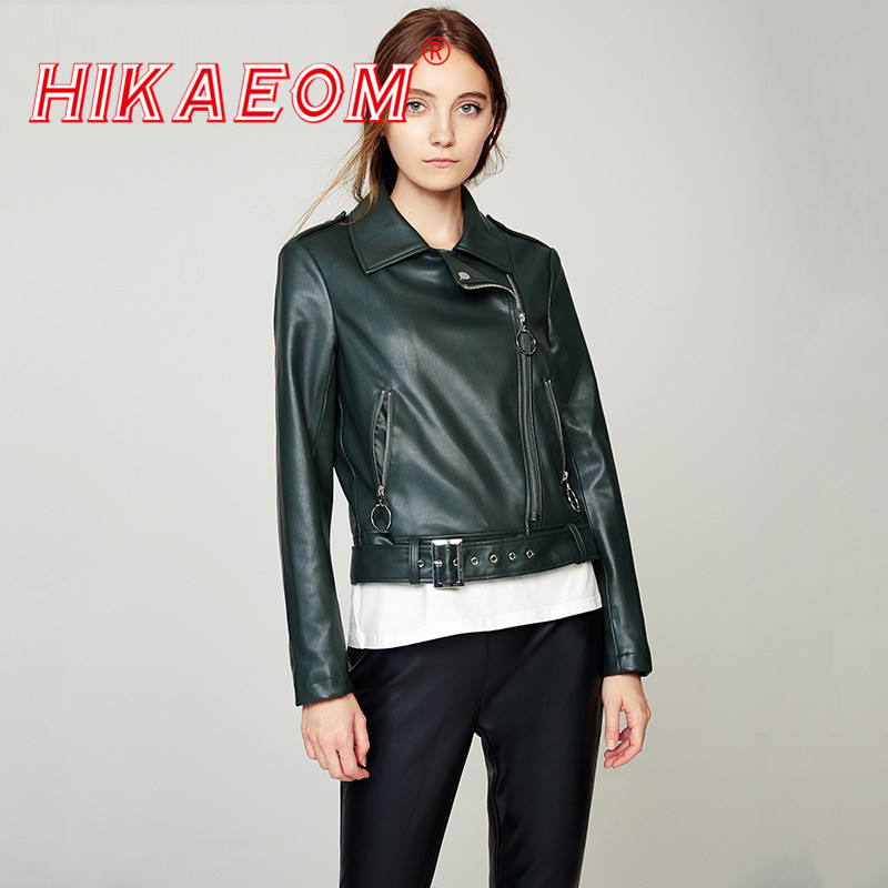 2019 Spring Soft   Suede   Long Sleeve Short Jacket Motorcycle Models PU   Leather   Women Zipper Outerwear Jackets New 2019 Coat HOT
