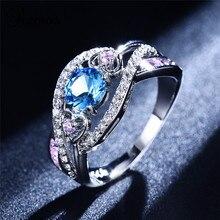 Bamos Rhinestone  Heart Cross Ring Ocean Blue&MutilColor