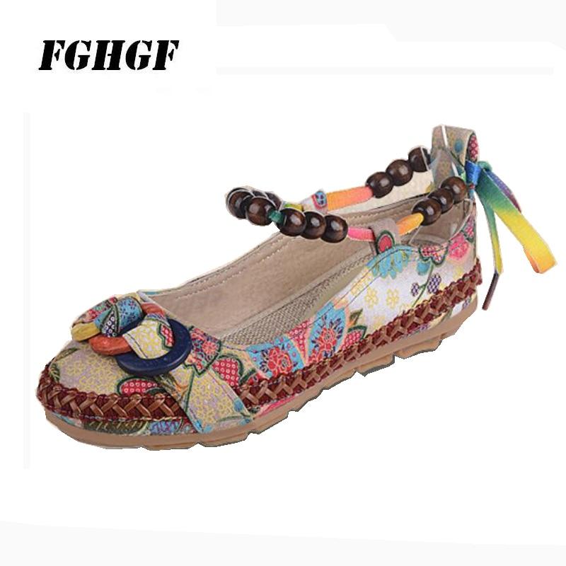 Large size fabric shoes beaded ethnic embroidered female lace retro dance single 35-42