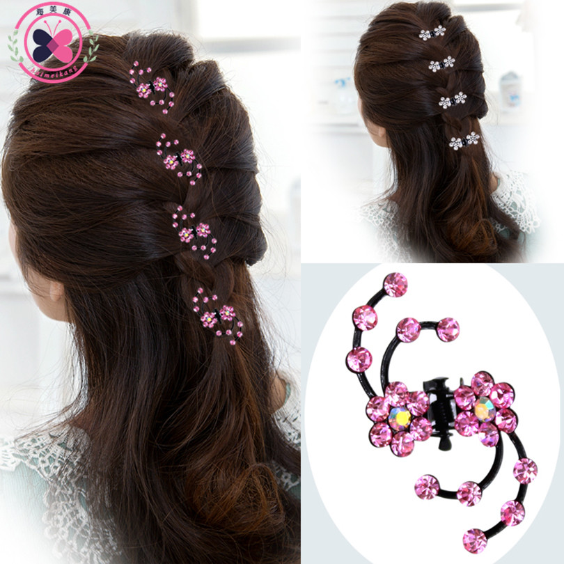 Haimeikang 2017 New Fashion 6Pcs Girls Crystal Snowflake Hair Clips Hairpins Headwear Rhinestone Hair Claws Hair Accessories купить
