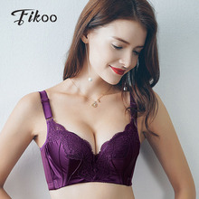 Fikoo Sexy Push up Lace Bras for Women Plus size Brassiere Intimates Female Purple Black Lace Bra Tops lingerie B C cup