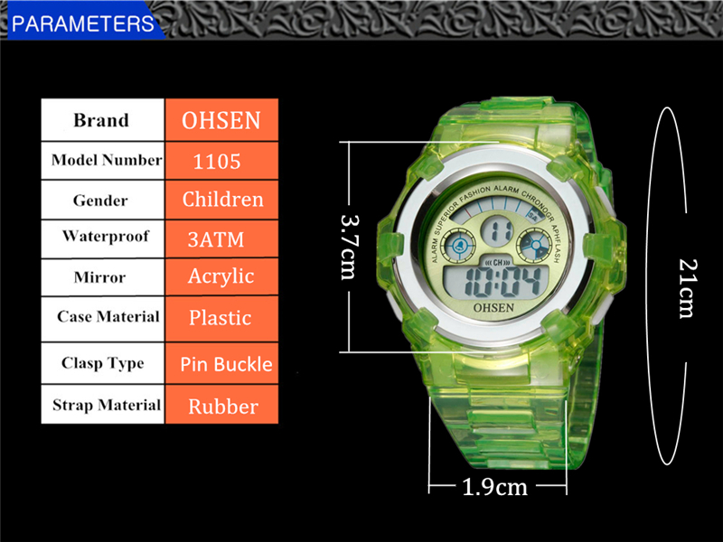 OHSEN Kids Watches Children Digital LED Fashion Sport Watch Cute Boys Girls Wrist watch Waterproof Gift Watch Alarm Kids Clock (29)