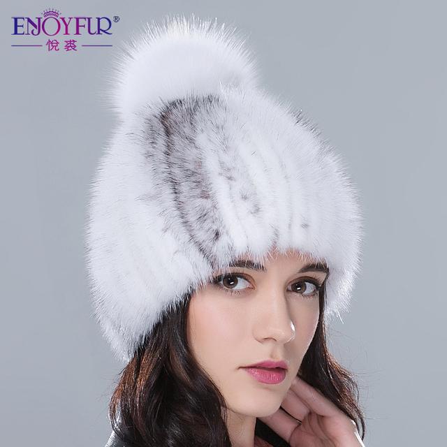 ENJOYFUR mulheres inverno chapéus de pele real chapéu de pele de vison com pele de raposa pom pom malha tampas 2016 novo de alta qualidade luxo feminino chapéu de pele