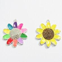 Newest  40mm 10pcs/bag Sunflower /Summery Enamel & Rhinestone  Pendants For Fashion  Chunky Kids Necklace