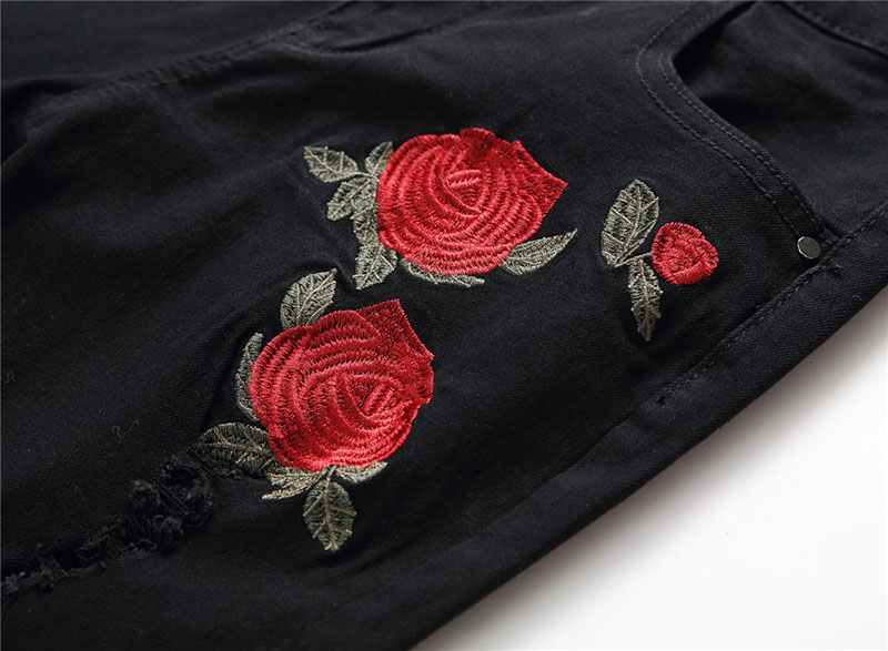 Men\`s Ripped Jeans With Embroidery Stretch Skinny Biker Flowers Rose Embroidered Jeans Pants Fashion Designer Men Trousers (6)