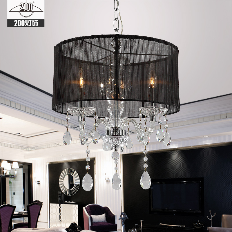European Style White Fabric Shade LED Modern K9 Crystal Chandeliers  E14 Lustres De Cristal Chandelier