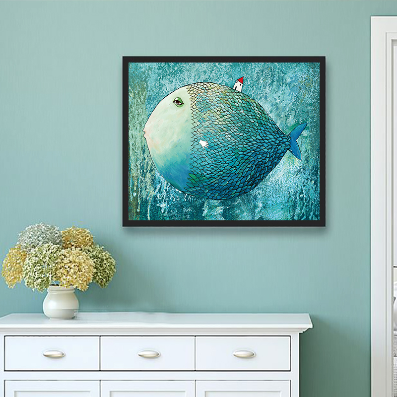 Modern Canvas Art Painting Nordic Minimalist Big Fish And House Wall