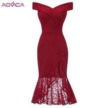 2019 Formal Lace Dresses Femme Off the Shoulder V-Neck Women Red Dress Hollow Out Female Robes Plus Size 2XL Vestidos de Festa