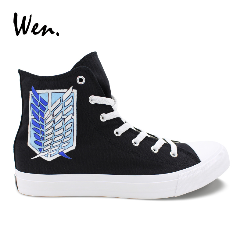 Wen Athletic Shoes Design Hand Painted Anime Attack On Titan Military Police High Top Unisex Canvas Sneakers Black Gym Shoes wen design custom astronaut outer space moon galaxy hand painted black canvas sneakers high top adults unisex athletic shoes
