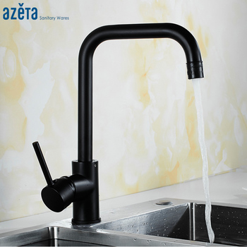 Azeta Black Kitchen Faucet 360 Rotate Kitchen Tap 2 Way Water Outlet Kitchen Sink Tap Deck Mounted Crane Kitchen Mixer AT9508AB