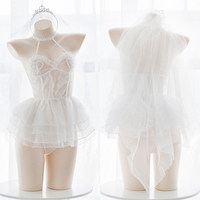 Angel Ballet Flower Marriage Women Wedding Babydolll Lingerie Lace Intimates Sexy Erotic Underwear Net Yarn Ultra short Dress
