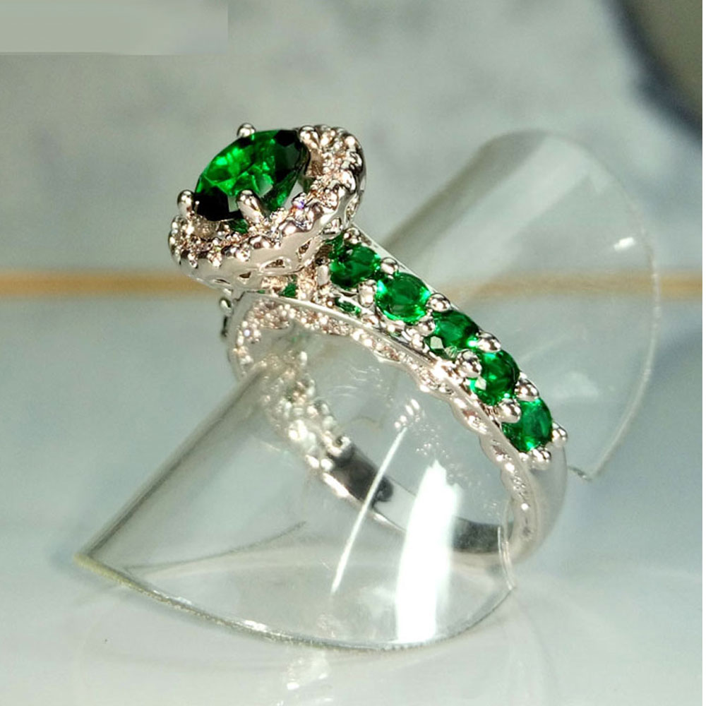 vintage emerald green wedding rings women promise wedding couple rings cz diamonds inlaid wholesale rings in rings from jewelry accessories on - Green Wedding Rings