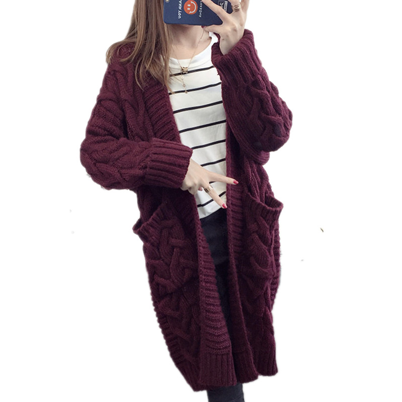 Criss cross V neck Long Cardigan Women Knitted Sweater 2019 Autumn Winter Thick Warm Overcoat Female Plus Size Loose Poncho Coat in Cardigans from Women 39 s Clothing