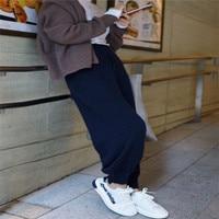 2018 new wearing cashmere knit casual pants sports high waist loose wide leg pants nine points feet harem pants tide