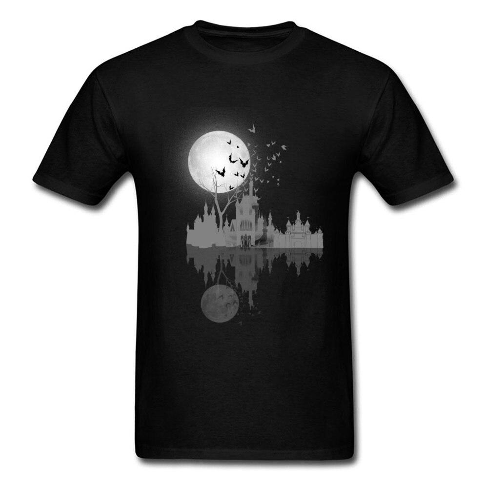 Moonshine clair Réflexion de L'eau T Chemises Hommes courtes manches Mâle T-shirt Belgique Château Sous Le t-shirt lune Nuit Contour