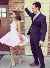 Günstige Satin Short Abendkleid Rosa Neckholder Cocktailkleider 2016 Einfache Backless Formale Kleid Mit Plissee
