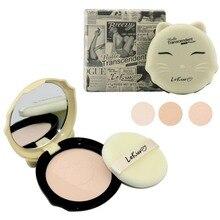 1 unid cara de hojaldre maquillaje torta Cats Style maquillaje polvos compactos polvo de acabado con soplo de polvo A2