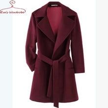 Women Wool coat Thicken Medium Long with Belts Dark red blends ParkaTurn-Down Collar Lady Elegant outwear Femme Manteau