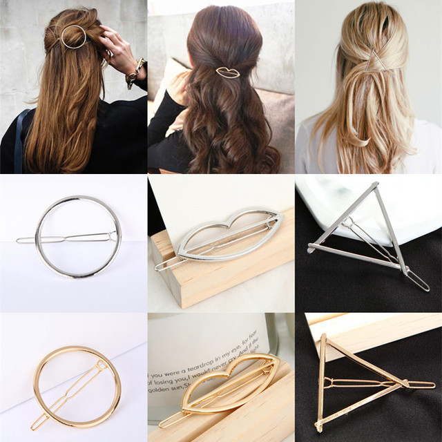 Fashion Women Girls Hairpins Gold/Silver Color Triangle Lips Circle Hair Clips H