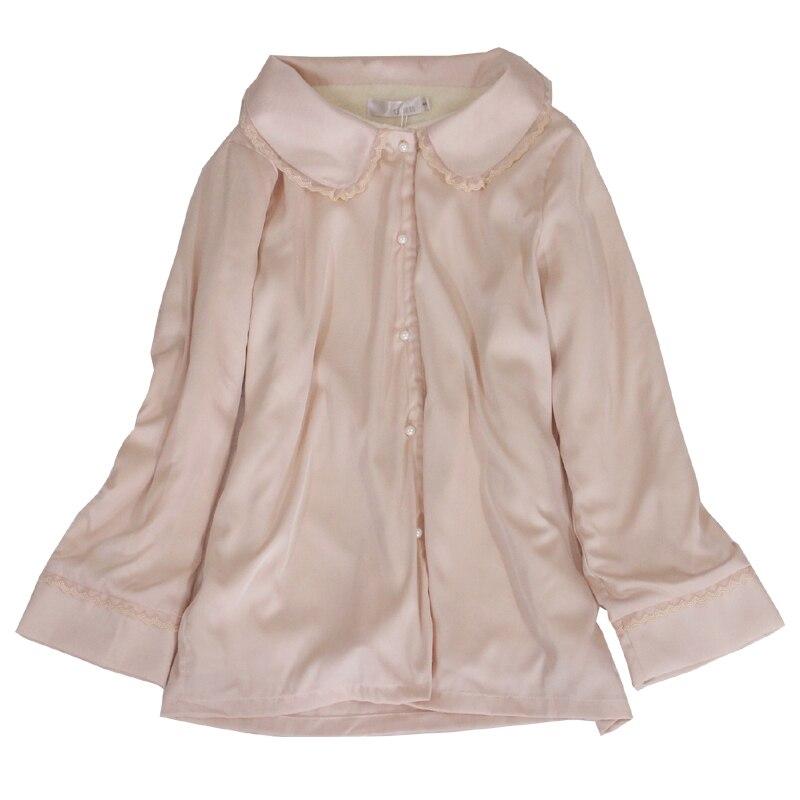 Nuevos pijamas gruesos de seda de calidad superior para mujer conjuntos de pijamas de manga larga de invierno blanco cálido de 3 fotos princesa conjuntos de ropa de dormir homwear 035 - 5