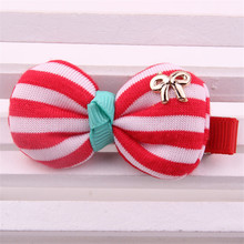 Newest Hairdress Hairpin For Kid Fashion Striped Print Fabrics Bowknot Barrette Gold Charms Hair Ornaments Girl