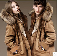 New Couple Winter Long Oversized Fur Collar Cotton Jacket Women Raccoon Fur Plus Size Detachable Cap Slim Lamb Plush Coat S947