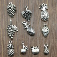 15pcs/lot Fruit Charms Pineapple Apple Grape Pendants Jewelry Making Strawberry Charms For Bracelet Making Antique Silver Color(China)