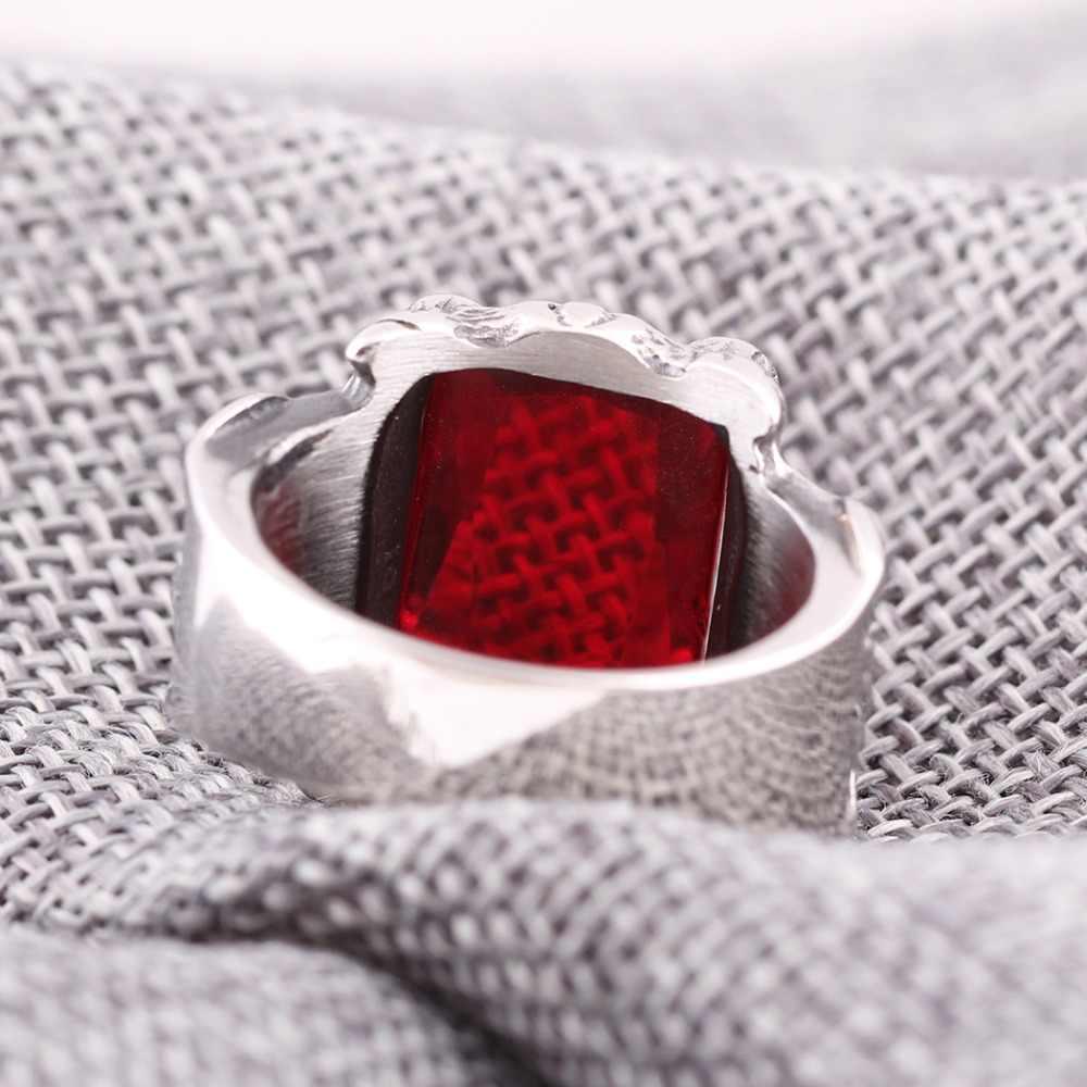 ผู้ชายขนาดใหญ่ 316L แหวนสแตนเลส CZ Silver Black Red Dragon Claw อัศวิน Fleur De Lis Vintage Gothic