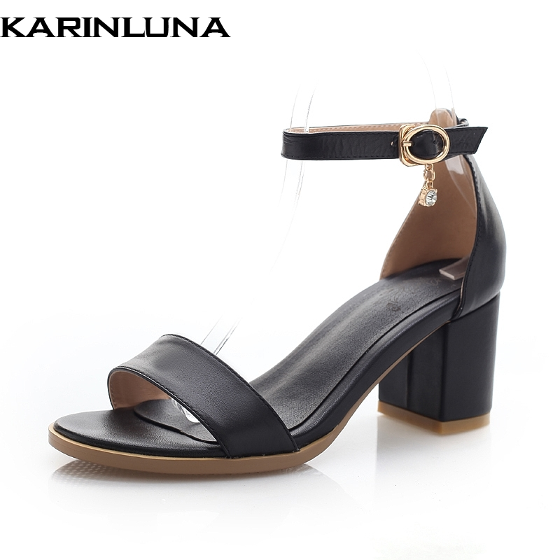 Karinluna Cow Leather Buckle Strap Summer Sandals Women Shoes Woman Chunky Heels Large Size 33-43 Black White Woman ShoesKarinluna Cow Leather Buckle Strap Summer Sandals Women Shoes Woman Chunky Heels Large Size 33-43 Black White Woman Shoes