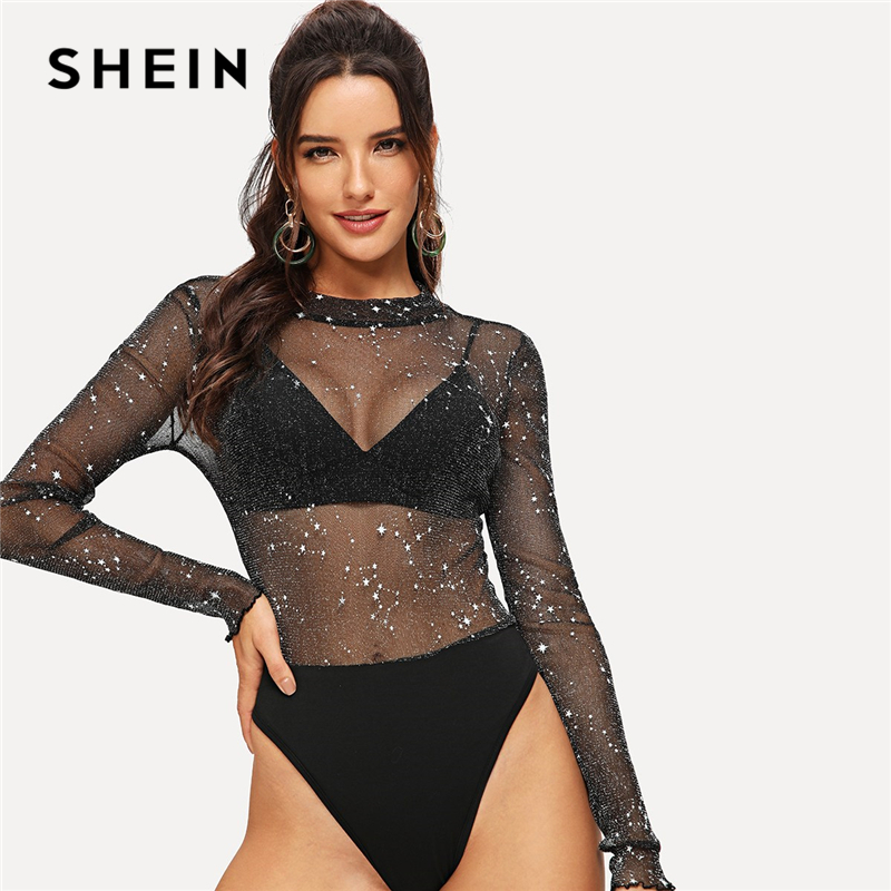 SHEIN Sexy Black Mesh Contrast Sheer Star Sequined Bodysuit Women Mid Waist Ruffle Sleeve Skinny Without Bra Summer Bodysuits