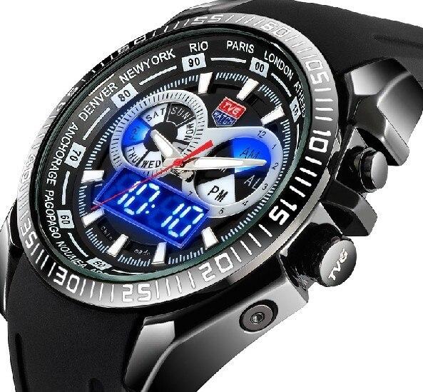 TVG Смотреть Мужчины Спортивные Часы Люксовый Бренд Силиконовый Ремешок Мода Кварцевые мужские Военные Наручные Часы