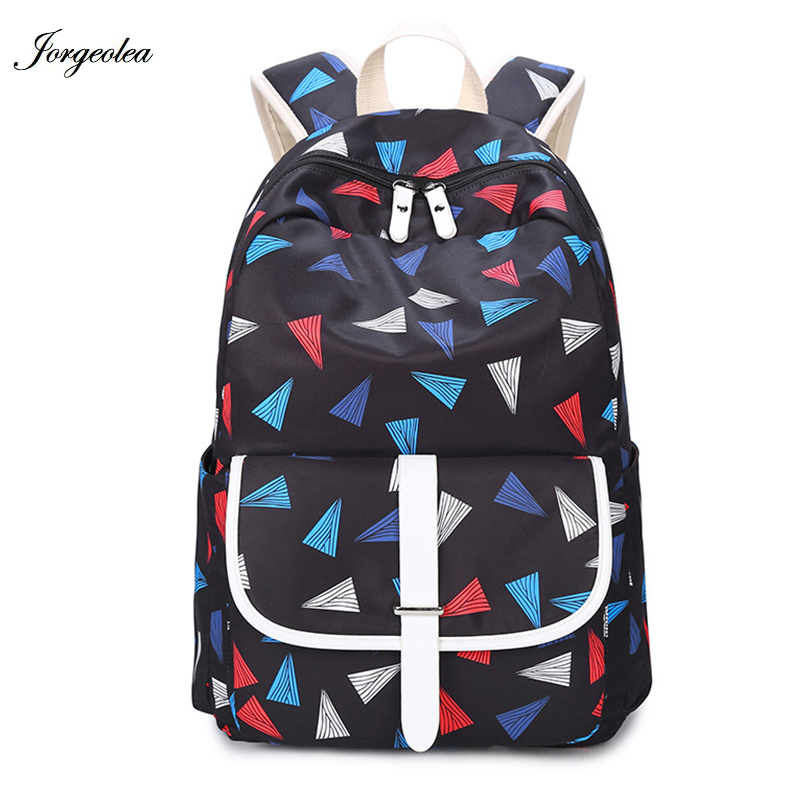 Jorgeolea Geometric Women Backpack For Teenage Girls Casual Backpack Bag For School Girls Shool Bag Student Schoolbag 1121 women casual backpack for teenage girls children school bags bagpack lady laptop backpack student book bag schoolbags pink blue