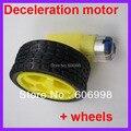2 pçs/lote DC Desaceleração do motor + rodas de apoio, chassis do carro inteligente Frete grátis