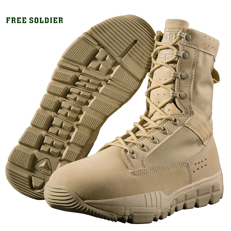 FREE SOLDIER outdoor sports tactical military men bootswear resistant breathable hiking camping shoes average height ankle