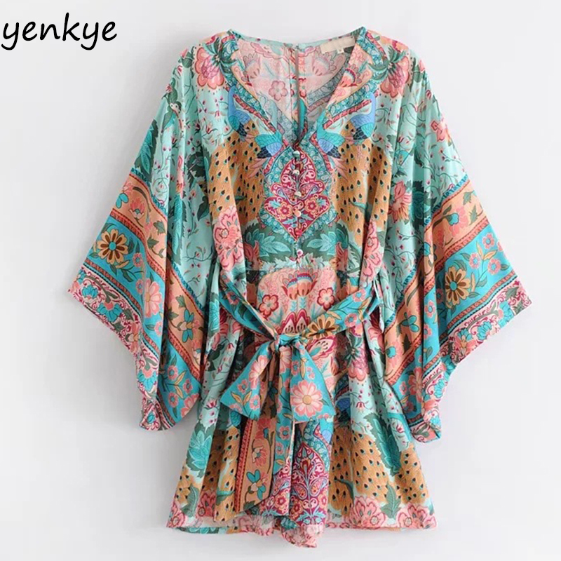 Summer Beach Boho   Jumpsuits   Women Peacock Printed   Jumpsuit   Loose-Fitting Sleeve With Belt Casual Romper Short Plus Size