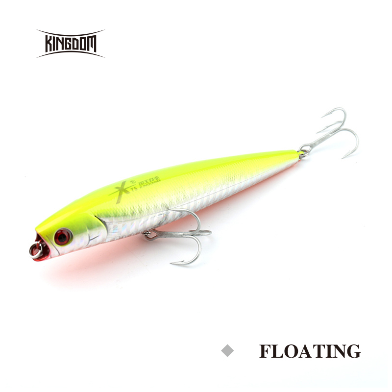 Kingdom Fishing Hard Lure Bait Floating Popper 110mm/15.8g Plastic Wobbler Swimbait 3 Colors With Two Strong Hooks Model 5337