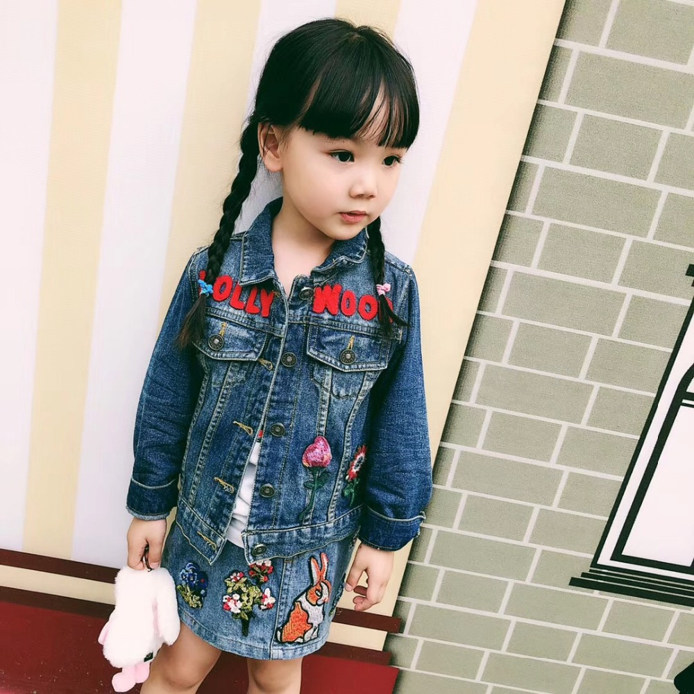 Spring Autumn Children Denim Jacket New Kids Jeans Jacket Girls Coats Denim Outwear Rabbit Flower Pattern Girls JacketSpring Autumn Children Denim Jacket New Kids Jeans Jacket Girls Coats Denim Outwear Rabbit Flower Pattern Girls Jacket
