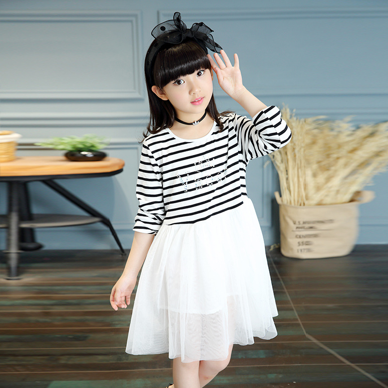 3 4 5 6 7 8 9 10 11 12 Years Kids Dresses For Spring Girls Cotton Striped Princess Party Dress Long Sleeve Ball Gown Girls Dress girls princess party dresses 4 long sleeve striped kids dresses for girls 6 preppy style bottoming dress 8 ball gowns 10 12years