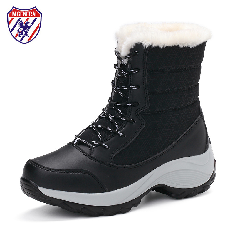 Women Snow Boots Winter Fur Boots Leather Waterproof Thick Bottom Botas for Female Anti-slip Plush Inside Super Warm Boots 35-41 kemekiss women warm plush warm snow boots for women thick platform ankle botas female thick fur winter footwear size 36 40