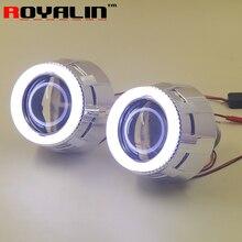 ROYALIN автомобилей мотоцикл лампы проектора 2,5 дюйм(ов) Bi Xenon H1 объектив с белый светодиодный Ангельские глазки евро Тип для авто лампы модернизации