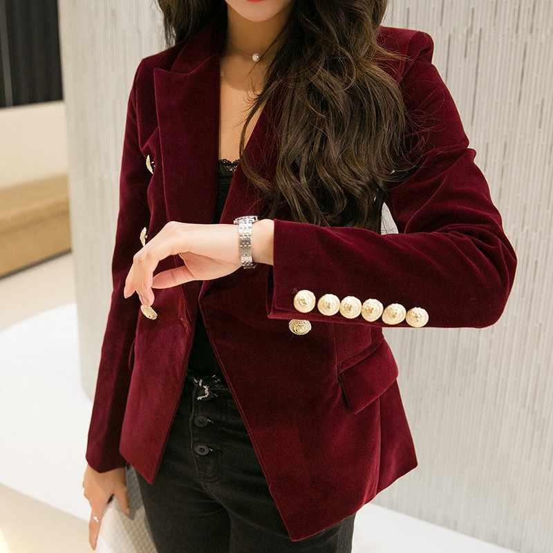 Marca de Moda de Nova Primavera Outono Mulheres Magro Preto Blazer De Veludo Vinho Jaqueta Vermelha Dupla Breasted Simples Senhora Blazers OL Roupas
