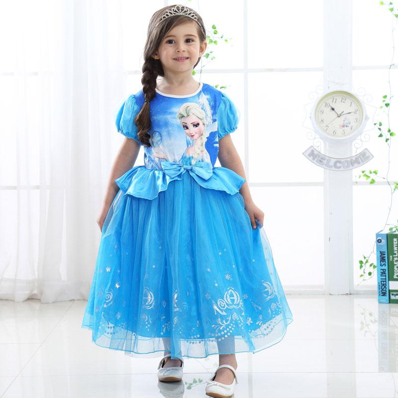 d268136040bad Girls Party Dresses Ruffle Vintage Vestido Elsa Anna Long Dress ...