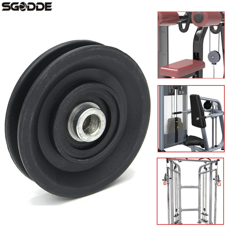 Hot Sale 90mm Black Wearproof Nylon Bearing Pulley Wheel 3.5 Cable Gym Universal Fitness Sports Lifting Equipment Part